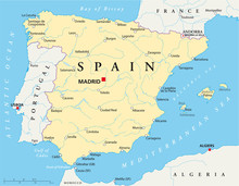 Spain Political Map With The C...