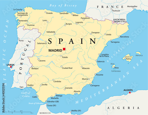 Spain political map with the capital Madrid, national borders