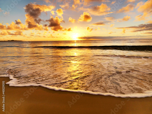 Fototapeta beautiful sunset on the  beach obraz