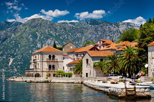 Poster Bleu nuit Perast town in Montenegro