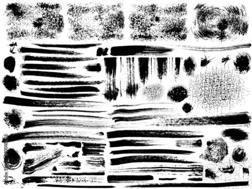 vector ink brush strokes set Canvas Print