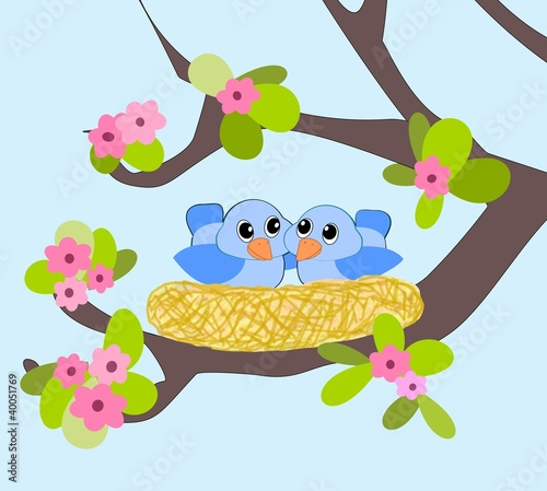 Poster Vogels, bijen Two little blue birds in a nest.