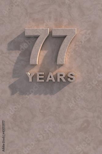 Fotografie, Obraz  77 years 3d text