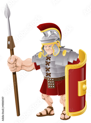 Ingelijste posters Ridders Strong Roman Soldier Illustration