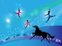 Silhouettes Of Circus Trapeze ...