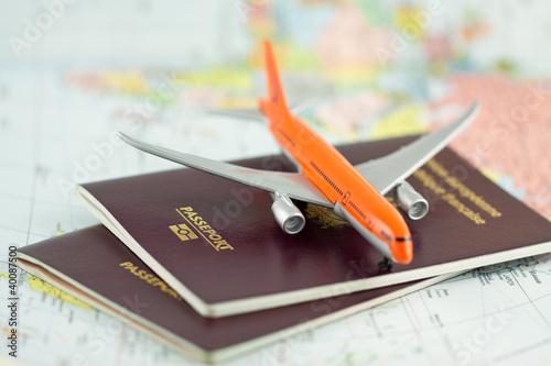 Obraz na plátně passeport, voyage par avion