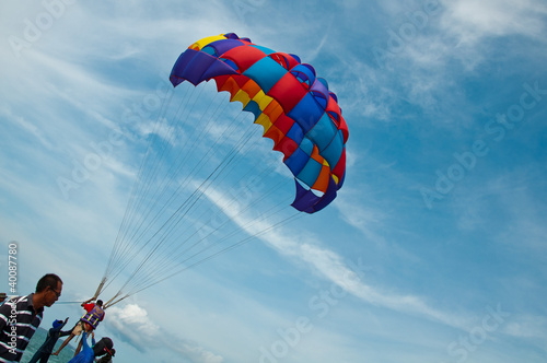 Foto op Canvas Luchtsport Parachuting sport in Thailand Pattaya.