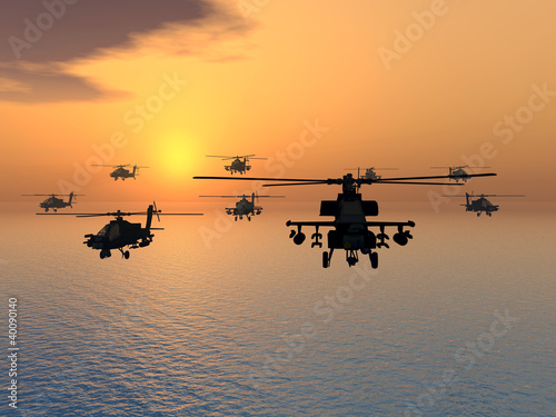 Tela Apache Helicopter