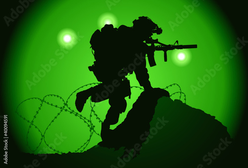 La pose en embrasure Militaire US soldier used night vision goggles