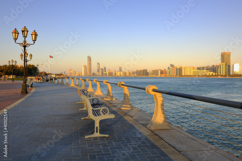 City skyline from the Corniche at dusk in Abu Dhabi