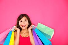 Shopping Woman Holding Shoppin...