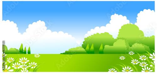 In de dag Lime groen Green Landscape with white Flowers
