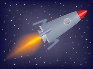 raketa koja leti u svemirskoj vektorskoj ilustraciji