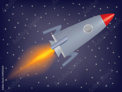 Cadres-photo bureau Cosmos rocket flying in a space vector illustration
