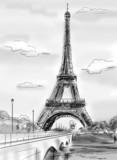 Fototapeta Wieża Eiffla - Parisian streets -Eiffel Tower illustration