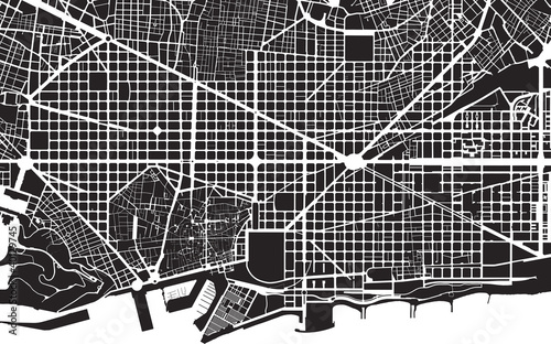 Barcelona black white city plan - street texture Canvas Print