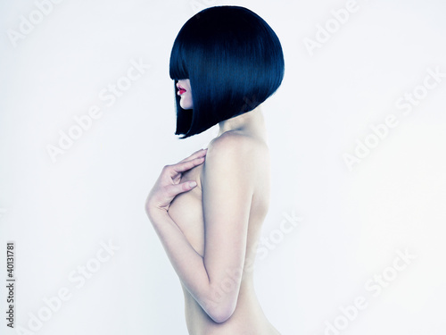 Fotografia, Obraz Nude woman with short hairstyle