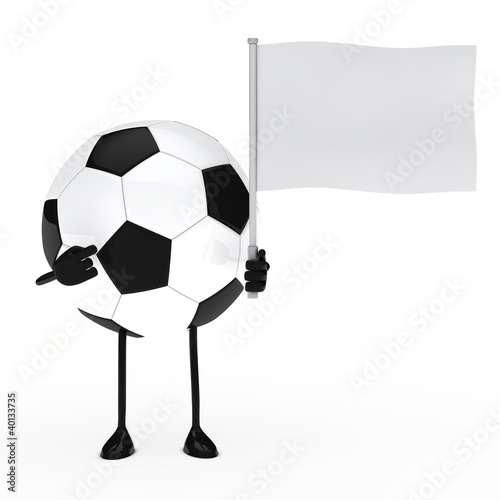 Poster  football figure hold flag