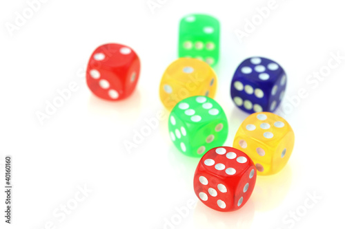 colorful dies on white background плакат