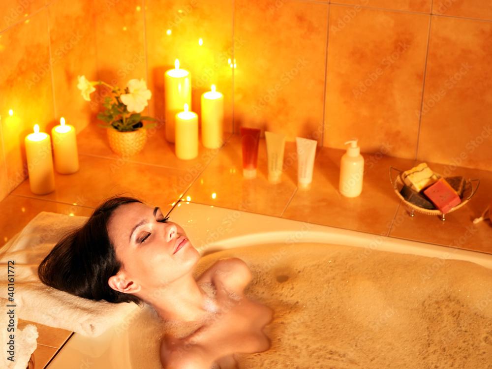 Fototapeta Woman take bubble  bath.