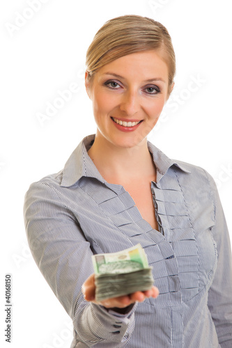 Fotografía  Businesswoman with polish zloty banknotes isolated on white
