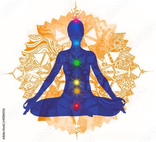 Fotografie, Obraz  Posizione del Loto e chakra colorati