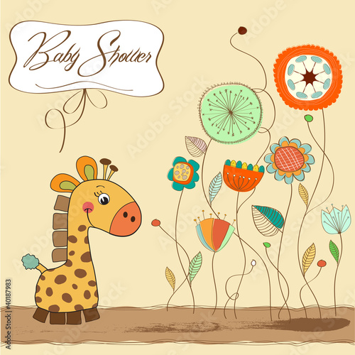new baby announcement card with giraffe Poster