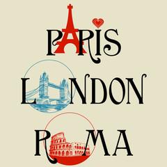 Naklejka Paris, London, Roma lettering