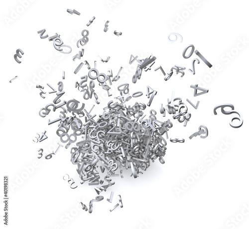 Fotografia, Obraz  3d numbers exploded