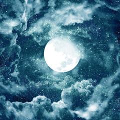 Obraz na Szkle Niebo moon in blue sky