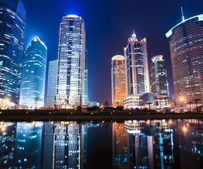 Obraz na Plexi Miasta night view of shanghai financial center district
