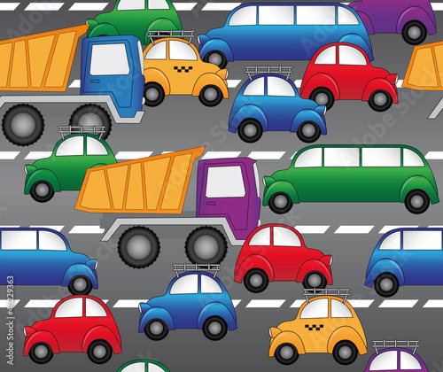Poster Op straat cars on the highway. seamless vector pattern