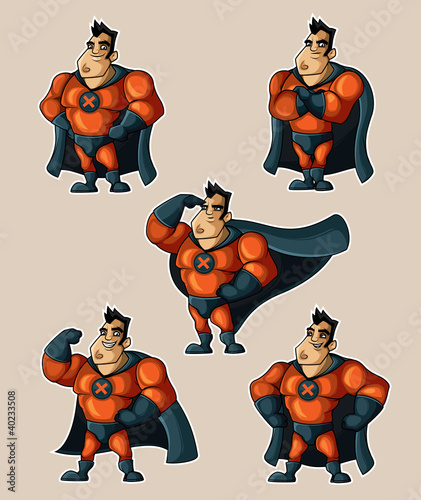 La pose en embrasure Super heros Superhero in a suit with a cape in various poses
