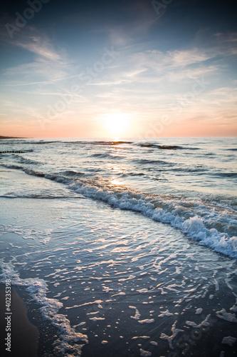 Obraz Morze zachód słońca - fototapety do salonu