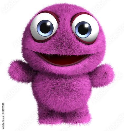 Poster de jardin Doux monstres violet monster