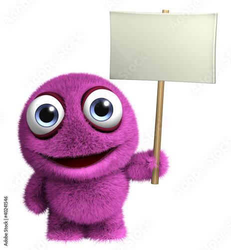 Foto auf Gartenposter Nette Monster pink monster