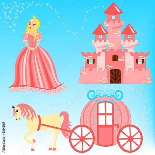 Poster Castle Fairytale cartoon illustration set