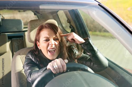 Fotografija  wütende autofahrerin