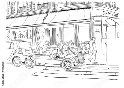 Photo sur Toile Drawn Street cafe On the streets of Paris