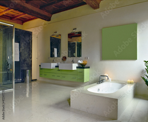 Bagno Moderno Con Vasca Da Bagno : Bagno moderno con vasca da bagno centrale buy this stock photo and