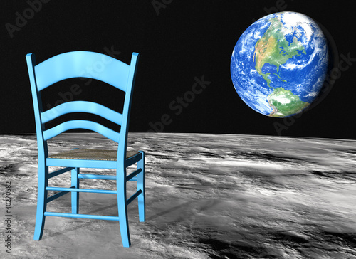 Fotografie, Obraz  chair on the moon