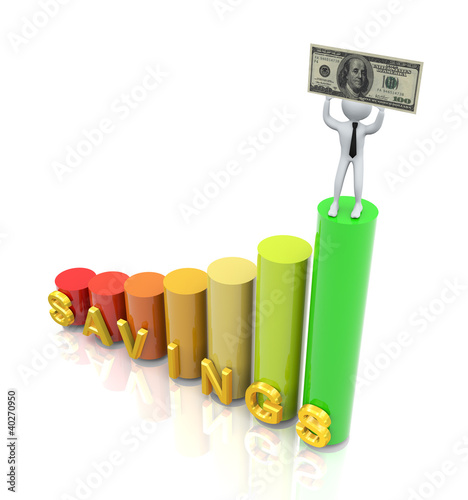 3d Man With Savings Growth Chart Buy This Stock Illustration And