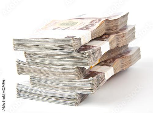 Photo 1000 baht banknotes isolated on white background.