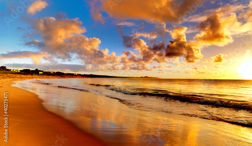 beautiful sunset on the  beach - 40275471