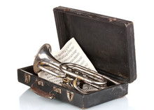 Old Trumpet And Notebook With ...