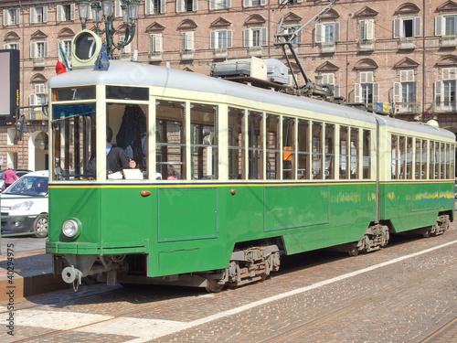 Obraz tramwaj  stary-zielony-tramwaj-w-turynie