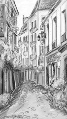 FototapetaParis street - illustration