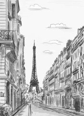 Fototapeta Paryż Paris street - illustration
