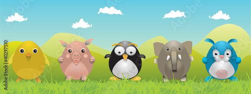 Poster Oiseaux, Abeilles Animaux mignons dessin