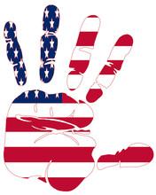 Hand Print Of American Flag Co...